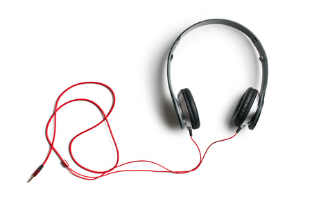 top view of headphones on white background photo