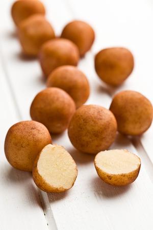 marzipan: marzipan balls on white kitchen table