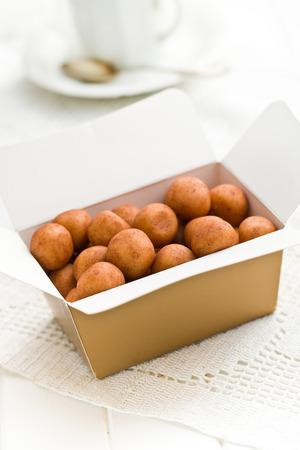 the marzipan balls in gift box photo