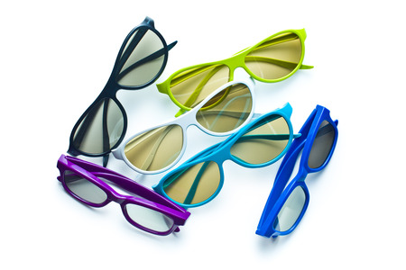 3d glasses with various colorful frames on white background photo