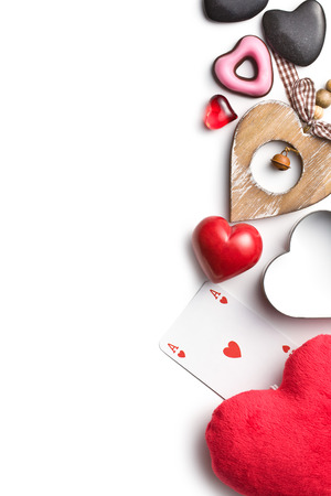 top view of various types of valentine hearts photo