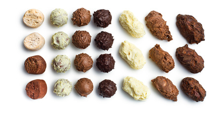praline: top view of various chocolate truffles on white background