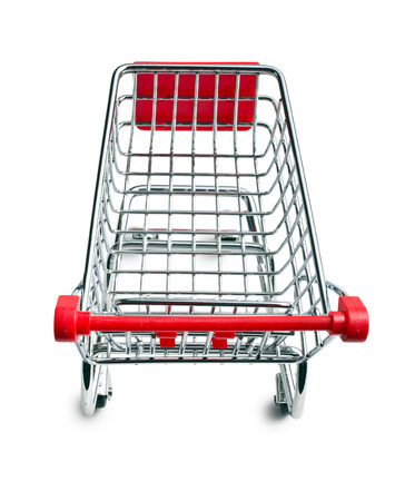 empty shopping cart: top view of empty shopping cart on white background