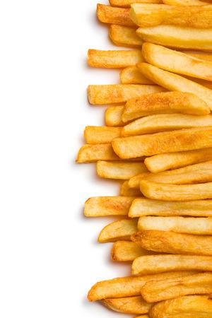 Draufsicht auf französisch frites auf weißem Hintergrund Standard-Bild - 25204609