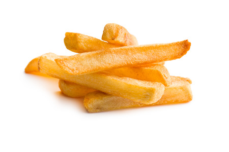 frites: pile of french fries on white background Stock Photo