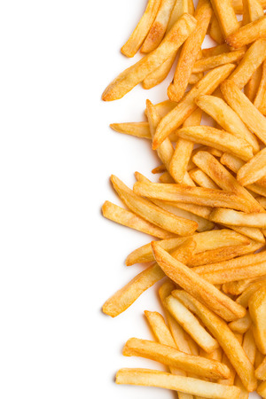 top view of french fries on white background photo
