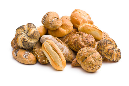 mix of breads on white background photo
