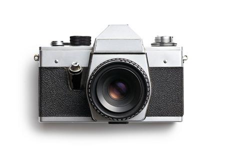 トップ ビュー白い背景の上に古いカメラ 写真素材