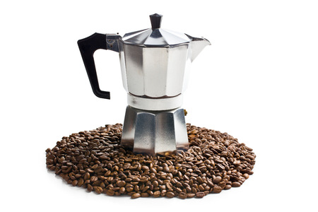with coffee maker: coffee maker with coffee beans on white background Stock Photo