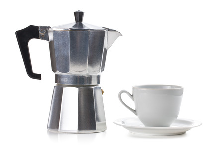 with coffee maker: coffee maker with ceramic cup on white background
