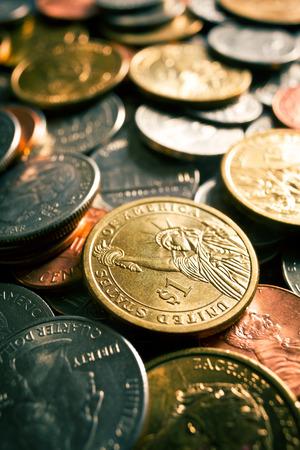 numismatics: background made of U.S. coins Stock Photo