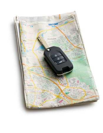 car key with map on white background photo