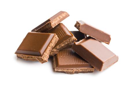 chunk:  milk chocolate bars on white background