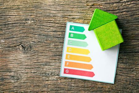 het houten huis met niveaus van energie-efficiëntie