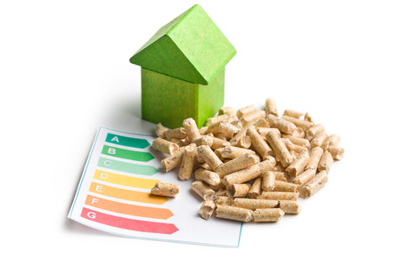 The concept of ecological and economic heating. Wooden pellets. photo