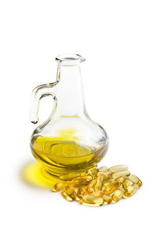 cod oil: Cod liver oil. Gel capsules on white background
