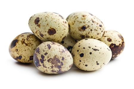 quail: Quail eggs on white background Stock Photo