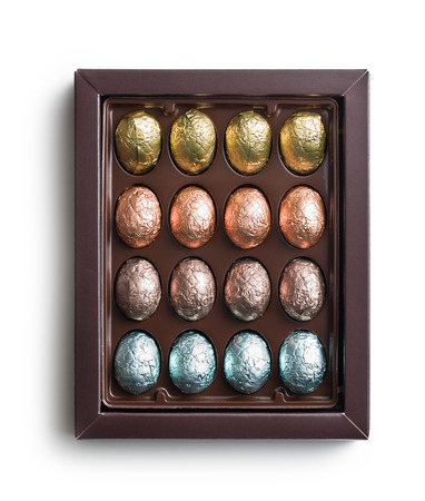 the chocolate eggs in box photo