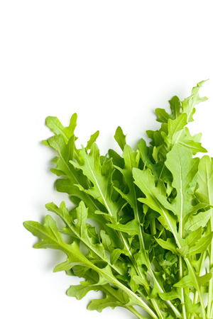 fresh arugula leaves on white background Reklamní fotografie