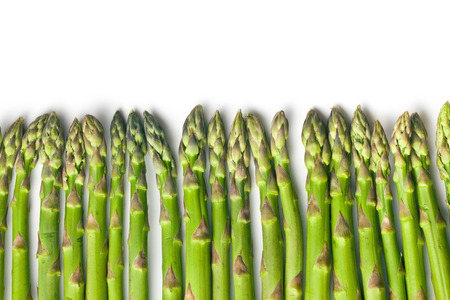 green asparagus on white background Stock Photo