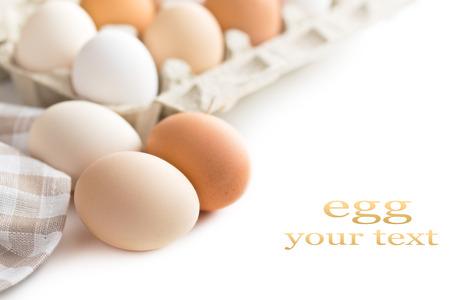chicken eggs on white background photo