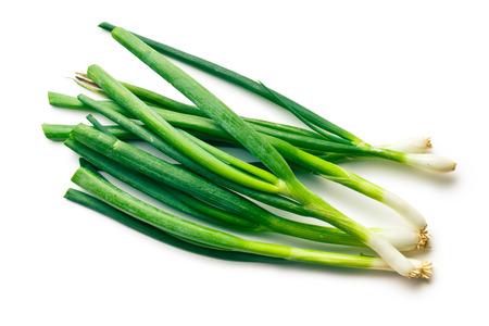 fresh spring onion on white background