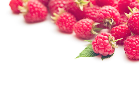 red raspberry on white background photo