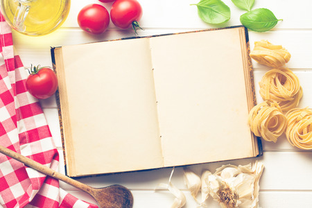 the blank recipe book and fresh ingredients photo
