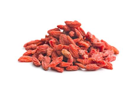 superfruit: dried goji berries on white background