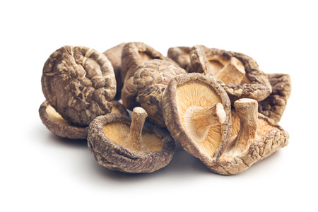 shiitake: dried shiitake mushrooms on white background Stock Photo