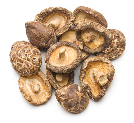 dried shiitake mushrooms on white background Stockfoto
