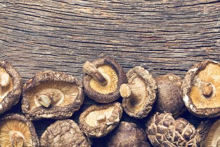 shiitake: top view of dried shiitake mushrooms on table