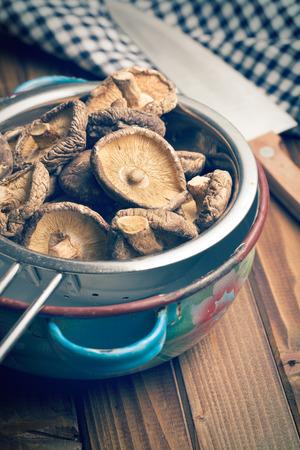 shiitake: the dried shiitake mushrooms in colander