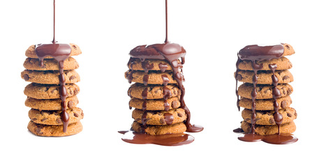 chocolate drop: the pouring chocolate on cookies Stock Photo