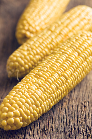 sweetcorn: the sweet corn on wooden table Stock Photo