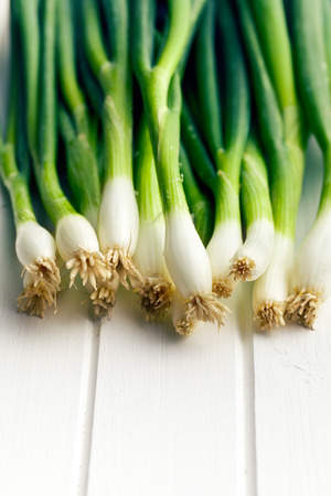 the spring onion on white table