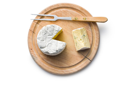 cheese knife: top view of blue cheese on cutting board