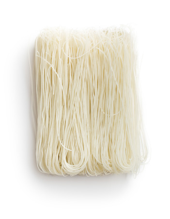 vermicelli: died rice noodles on white background