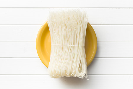 vermicelli: top view of died rice noodles