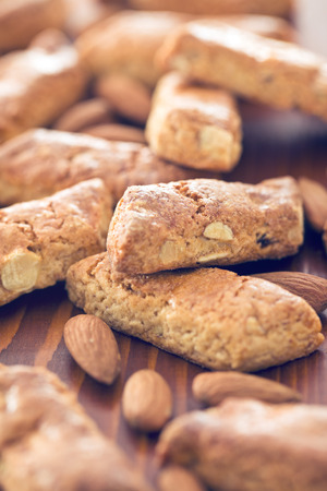 crumbly: almond cookies on wooden table