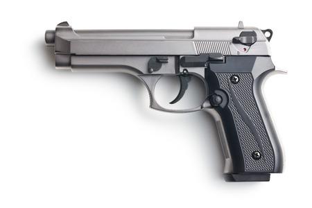 hand gun: the handgun on white background
