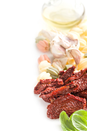 domates: italian food ingredient on white table