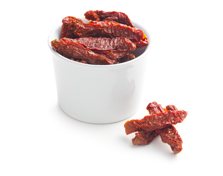 dehydrated: sun dried tomatoes on white background