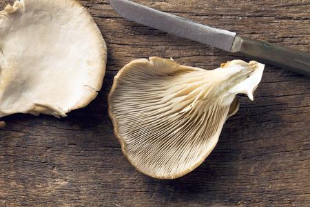 mushroom: Seta de ostra en mesa de madera