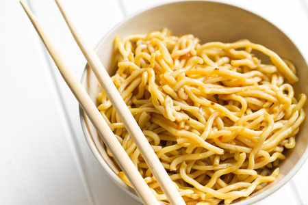 chinese noodles: chinese noodles in ceramic bowl Stock Photo