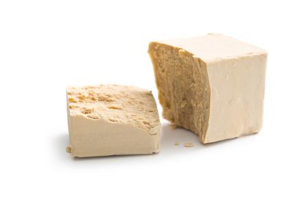 fresh yeast on white background