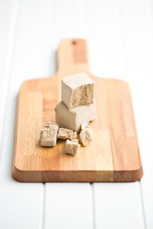 leavening: fresh yeast on cutting board