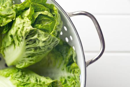 romaine: the fresh lettuce in colander