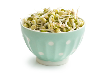 bean sprouts: Sprouted mung beans in bowl on white background