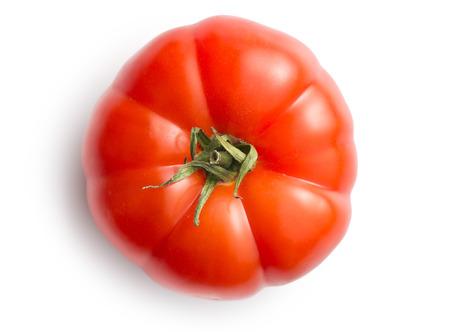 rote Tomate auf weißem Hintergrund Standard-Bild